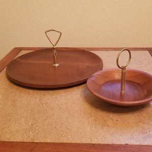 Vintage Walnut Trays Servings Dishes